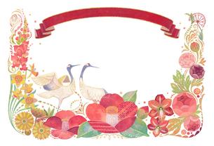 1月をイメージした花と鶴とりぼんの飾りのイラスト素材 [FYI01653082]