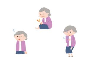 ぼーっとする、関節の痛み、息切れを感じるおばあさんのイラスト素材 [FYI01653086]