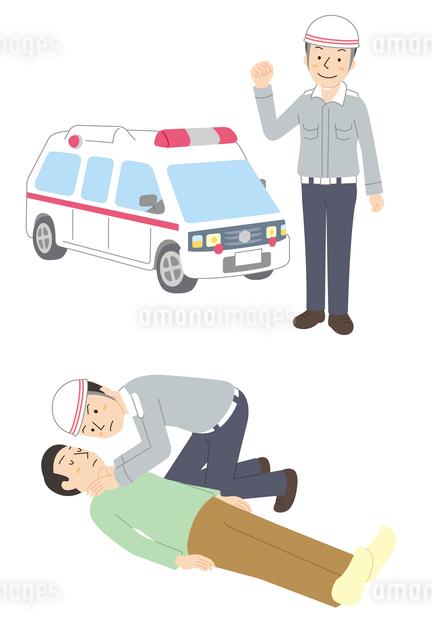 救急車、救急隊員、救急対応シーンのイラスト素材 [FYI01653092]