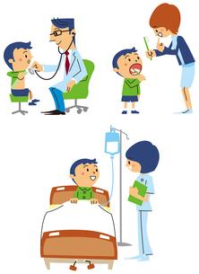 診察を受ける、歯磨き指導を受ける、ベッドで点滴する男の子のイラスト素材 [FYI01653094]