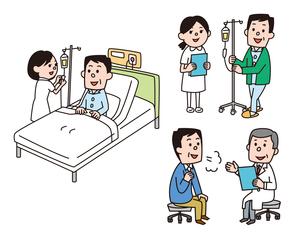 ベッドで点滴、点滴をしながら歩く、診察を受ける男性のイラスト素材 [FYI01653105]