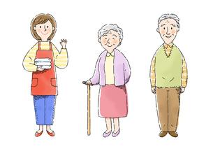 介護士さん、おばあさん、おじいさんのイラスト素材 [FYI01653106]