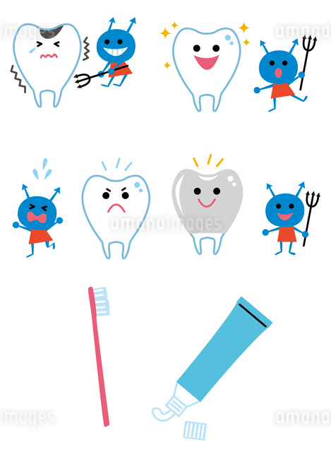 歯と虫歯菌、歯磨きアイコンのイラスト素材 [FYI01653108]