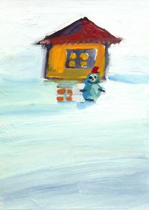 家の外の雪だるまのイラスト素材 [FYI01653118]