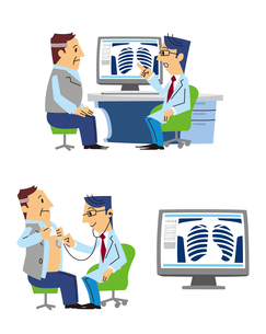 男性患者のレントゲンを見る、聴診器を当てる、レントゲンのイラスト素材 [FYI01653127]