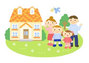 家と家族 (親子)のイラスト素材 [FYI01653153]