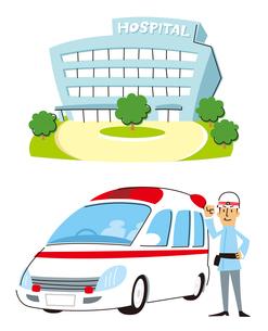 病院、救急車と救急隊員のイラスト素材 [FYI01653160]
