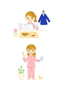 OLの朝 朝食 ハミガキのイラスト素材 [FYI01653177]
