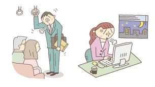 疲れているビジネスマンとOLのイラスト素材 [FYI01653181]