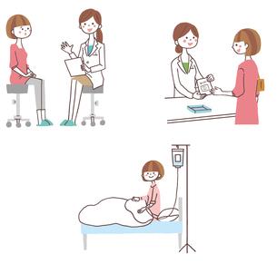 診察を受ける、薬を貰う、入院する女性のイラスト素材 [FYI01653199]