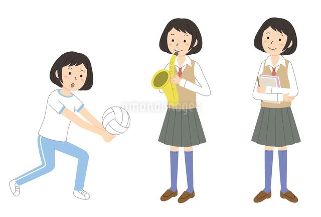 運動をする・楽器を吹く・ノートを持つ女子学生のイラスト素材 [FYI01653205]
