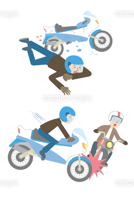 バイク事故(転倒、バイク同士)のイラスト素材 [FYI01653227]