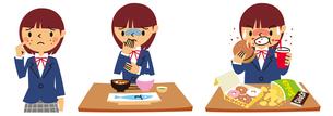 にきび、拒食症、過食症の女子高生のイラスト素材 [FYI01653244]