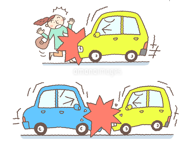 自動車事故のイメージ(車対人、車対車)のイラスト素材 [FYI01653245]