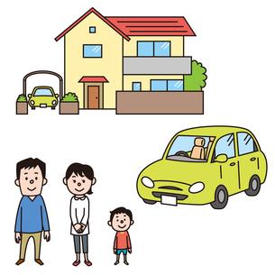 一軒家と車と家族のイラスト素材 [FYI01653257]