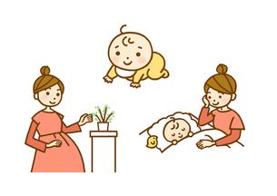 妊婦さん・赤ちゃん・寝かしつけのイラスト素材 [FYI01653273]