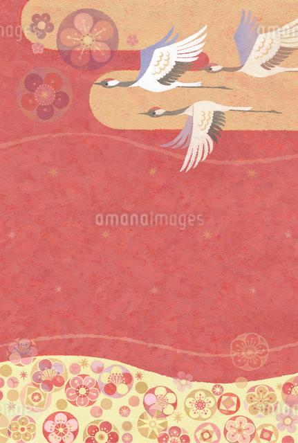 梅の花漂う空と瑞雲に飛ぶ鶴のイラスト素材 [FYI01653275]