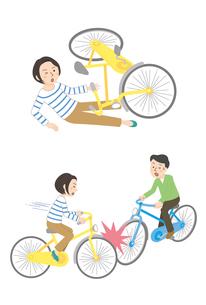 自転車事故(転倒、自転車同士)のイラスト素材 [FYI01653279]