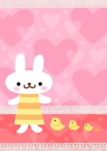 ハートとウサギとヒヨコのイラスト素材 [FYI01653301]