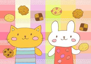 クッキーとネコとウサギのイラスト素材 [FYI01653317]