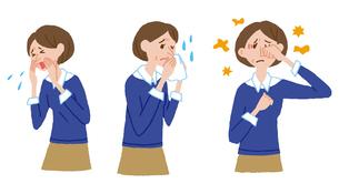 くしゃみ、鼻水、目のかゆみの女性のイラスト素材 [FYI01653344]