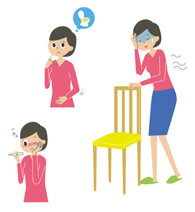 熱・便秘・貧血に悩む女性のイラスト素材 [FYI01653359]