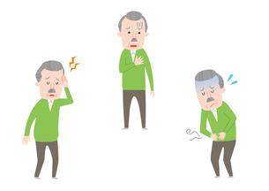 頭痛、心臓の痛み、腹痛のおじいさんのイラスト素材 [FYI01653375]