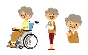 シニア女性(車いすに乗る、腕吊りする、指に包帯する)のイラスト素材 [FYI01653383]