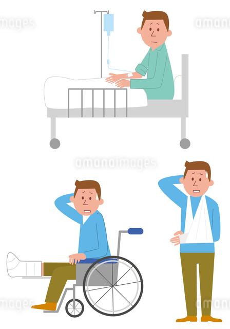 入院(ベッド、車いす、怪我)のイラスト素材 [FYI01653399]