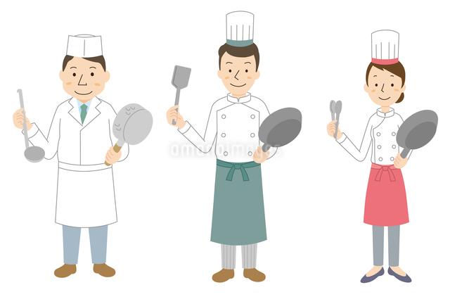 コック3パターン(日本料理、西洋料理男女)のイラスト素材 [FYI01653419]