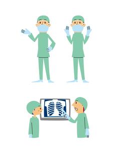 手術医師(手差し、両手上げ、レントゲン打ち合わせ)のイラスト素材 [FYI01653420]