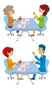 保険相談する女性、保険相談するシニア女性のイラスト素材 [FYI01653422]