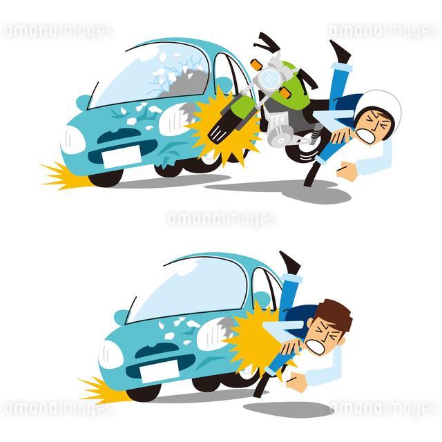 自動車と歩行者の人身事故、自動車とバイクとの車両事故のイラスト素材 [FYI01653432]