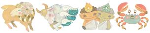 12星座 牡羊座 牡牛座 双子座 蟹座のイラスト素材 [FYI01653445]