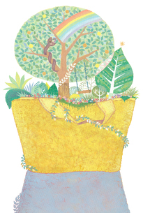 黄色いバッグの森に住む蛇 黄金の実を食べ虹を架けるのイラスト素材 [FYI01653447]