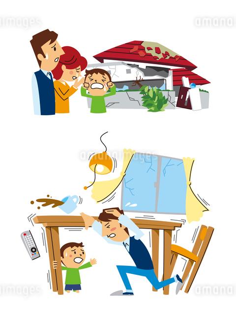 地震保険(全壊した家の前で悲しむ家族、避難)のイラスト素材 [FYI01653456]