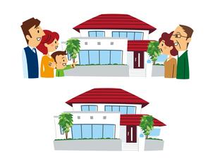 家と安心した二世帯家族、二世帯住宅のイラスト素材 [FYI01653467]