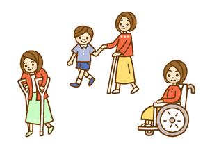つえと松葉杖と車いすのイラスト素材 [FYI01653468]
