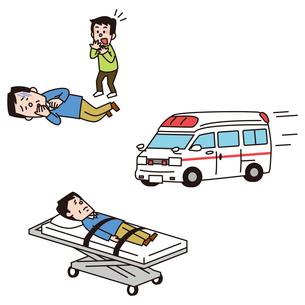 急病の男性、救急車、ストレッチャーに乗る男性のイラスト素材 [FYI01653480]
