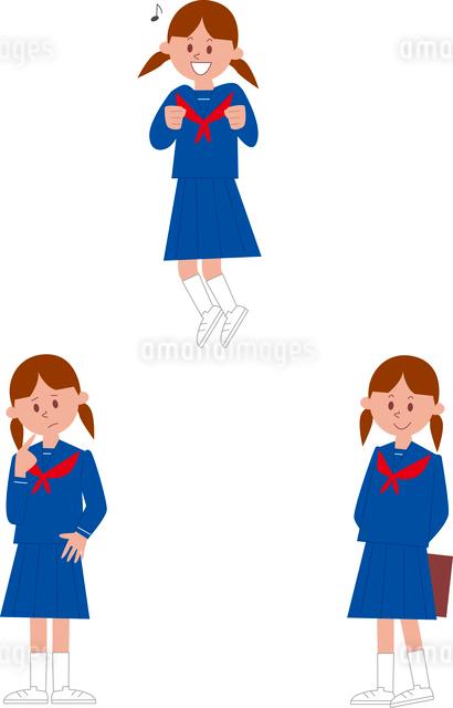 女子中学生ポーズ3パターンのイラスト素材 [FYI01653482]