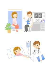 婦人科受診 入院患者と女医さんのイラスト素材 [FYI01653489]
