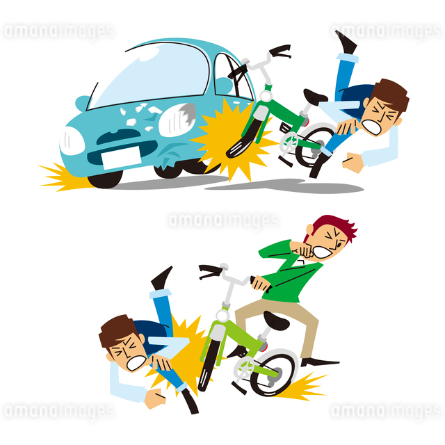 車と自転車の事故、自転車と歩行者の事故のイラスト素材 [FYI01653496]