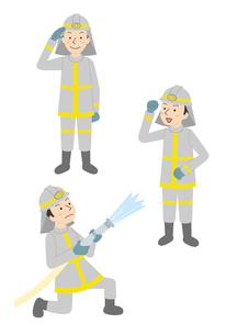 消防隊員仕事3パターンのイラスト素材 [FYI01653503]