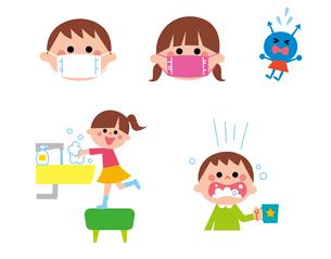 うがい手洗い、マスクをする男の子と女の子のイラスト素材 [FYI01653520]