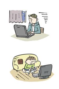 夜更かしをする子ども、パソコン、ゲーム、不眠のイラスト素材 [FYI01653536]