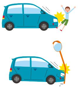 車と人の事故、車の事故のイラスト素材 [FYI01653551]