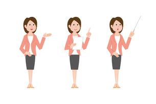 司会の女性、手のひらで指示す、資料を手に指差し、指示棒を持つのイラスト素材 [FYI01653562]