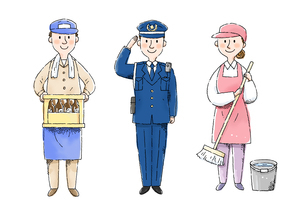 酒屋さん、警察官、清掃スタッフのイラスト素材 [FYI01653565]