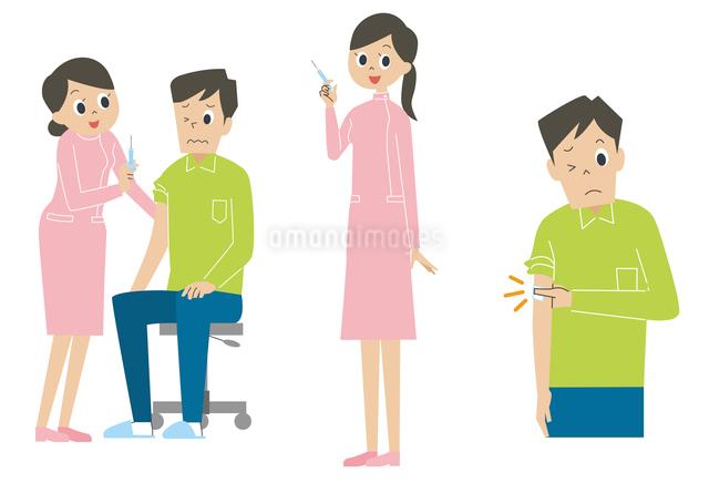 注射をする男性と看護師のイラスト素材 [FYI01653572]