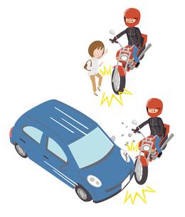 バイク事故(対人、対車)のイラスト素材 [FYI01653576]